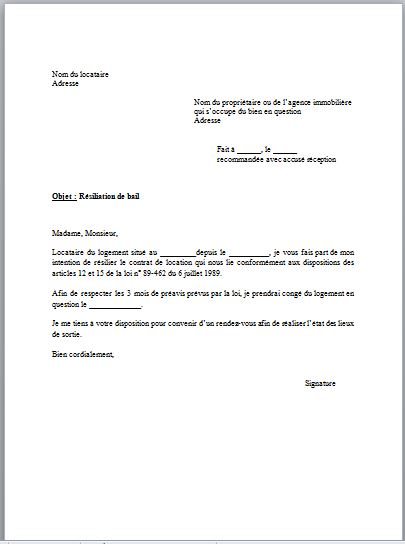 lettre resiliation caf