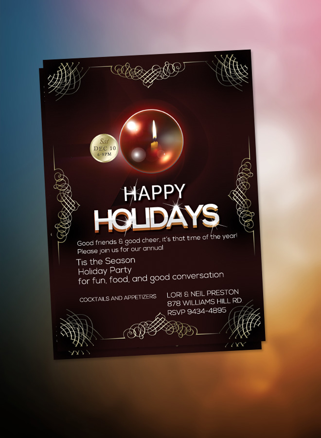 Happy Holidays Flyer Christmas Dinner Invitation Elegant Christmas - christmas luncheon flyer
