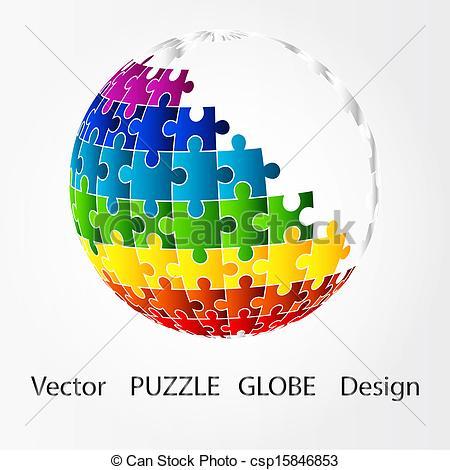 Puzzle piece globe Logos