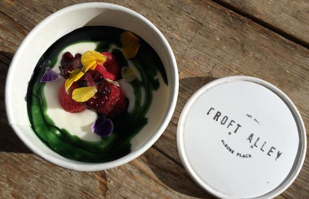 Croft Alley house-made yogurt with chlorophyll and fresh berries