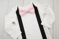 Blush Pink Bow Tie & Suspender Shirt