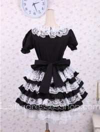 Cheap White lacing Bow Tie Puff Sleeves Punk LOlita Dress ...