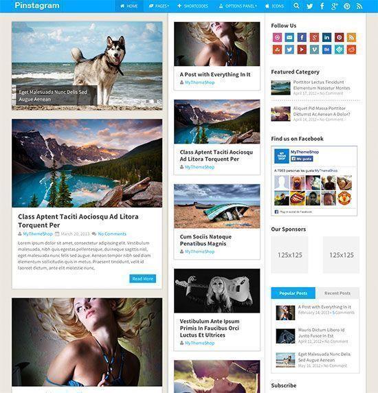 Pinstagram - Plantilla WordPress Revistas y Periódicos