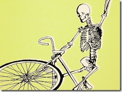 Skeleton doing a wheelie