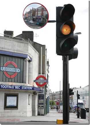 Trixi mirror outside Tooting Bec Tube promoting cyclist safety