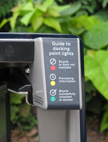 Cycle Hire Docking station with a guide to the lights