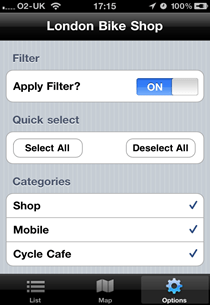 Bike shop app showing filter settings