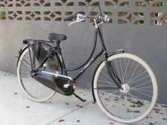 A dutch style bike which is good for starting to cycle in an inner city area