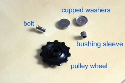 Jockey wheel in pieces