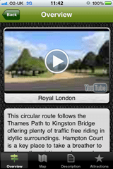 The ride overview screen is where you can read a brief overview of the ride and view video and pictures