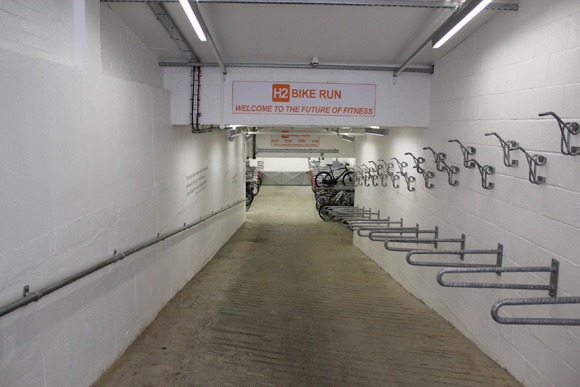 Cycle parking at H2 Bike Run gym in Soho