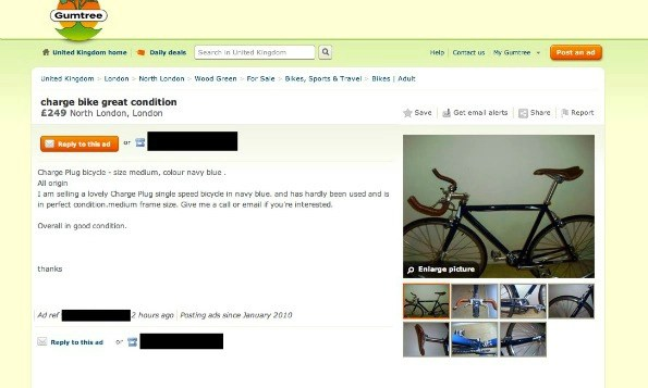 A screengrab from the gumtree website showing the listing of a stolen bike
