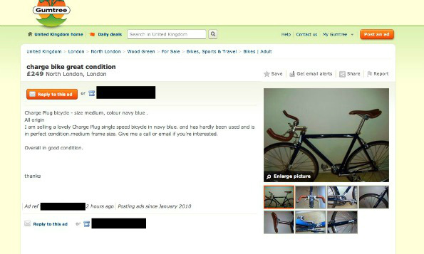 Gumtree listing of stolen bike