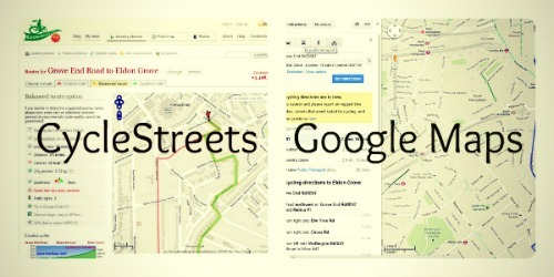 CycleStreets and Google Maps