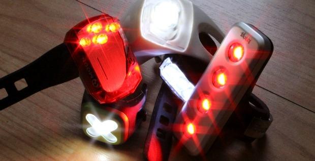 Bike lights lined up