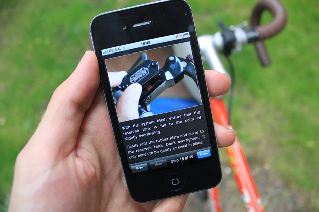 Bike doctor app showing you how to bleed your disk brakes