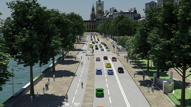 Victoria Embankment has been re-envisioned in the new plans to give cyclists a separated path from traffic
