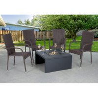 Bond Rowley Fire Table with Lid and Cover - Charcoal Grey ...
