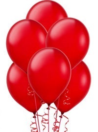 "10 Pearlised Red 11"" Helium Filled latex balloons"