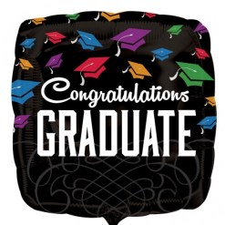 Congratulations Graduate Black Supershape Helium Filled Foil Balloon for delivery in London