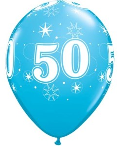 "10 50th Birthday Blue 11"" Helium Filled Balloons"