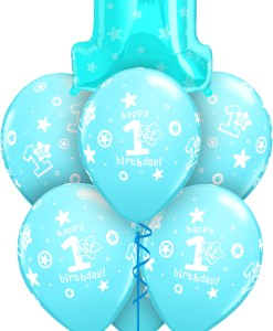 Blue 1st Birthday at London Helium Balloons