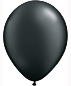 "10 Treated Pearl Onyx Black 11"" 11"" Helium Filled latex Balloons"