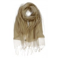 Plain Double Layer Organza Silk Scarf GOLD