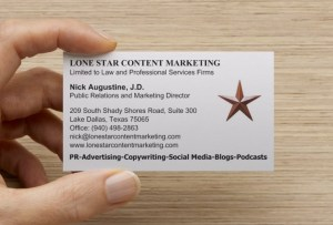 Nick Augustine business card