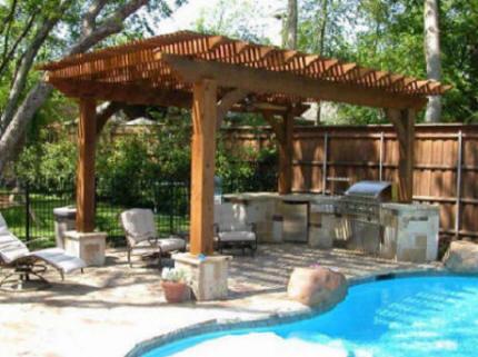 Outdoor Kitchen With Cedar Pergola Lone Star Patio
