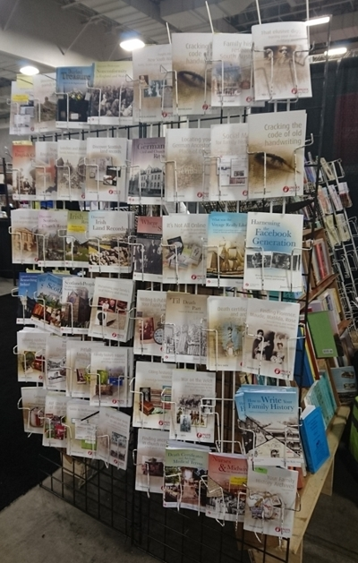 our Unlock the Past guide books on display at Maia's Books