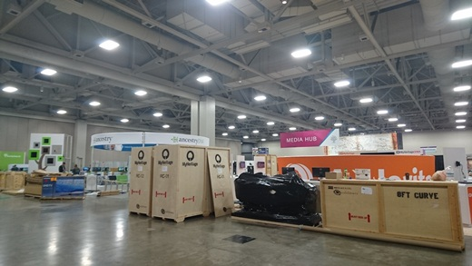 much of the MyHeritage booth came in crates