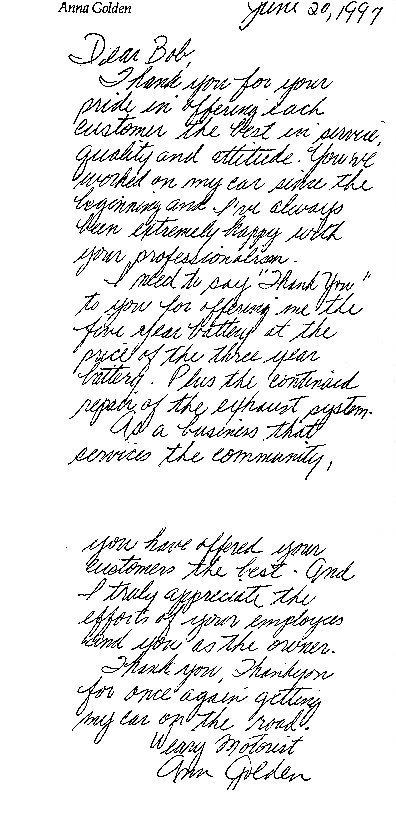 Letters of Appreciation - letters of appreciation
