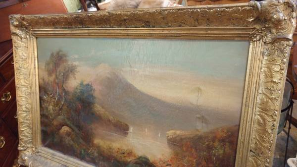 Antique 1800s Oil Painting On Canvas Beautiful W Minor Damage Wow Long Valley Traders