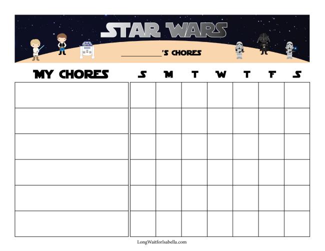 Star Wars Inspired Chore Chart and Chore Bucks