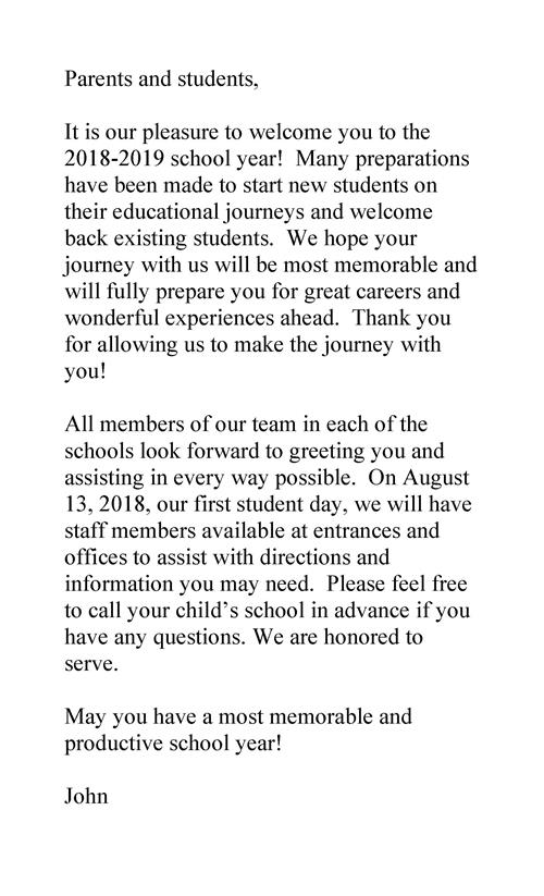 Parents and students, It is our pleasure to welcome you to the 2018