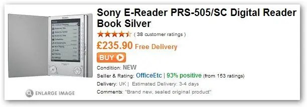 Sony E-Reader 505 at play £235