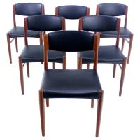 Set of Six Danish Modern Teak Dining Chairs by Glostrup ...