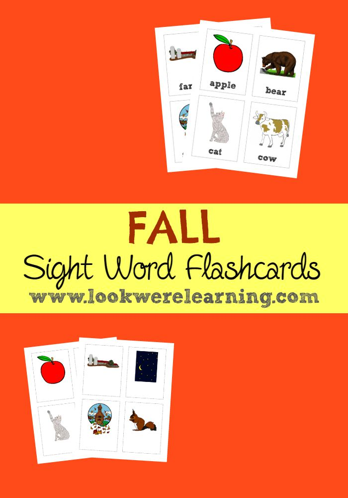 Fall Sight Words Flashcards - Look! We\u0027re Learning!