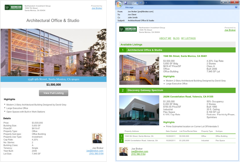 Commercial Real Estate Flyers, Websites and Email Campaigns