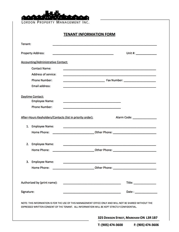 Tenant Information Form Employment Verification Form For Rental - Tenant Information Form