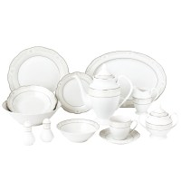 57 Piece Wavy Dinnerware Set-Porcelain China Service for 8 ...