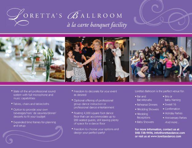 Host an Event - Loretta\u0027s Dance Boutique  Ballroom - party rental flyer