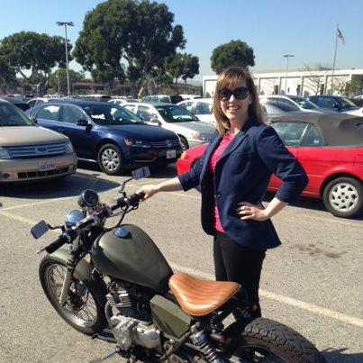 Lori Dennis Interior Design Senior Designer Sara Plaisted & one cool motorbike
