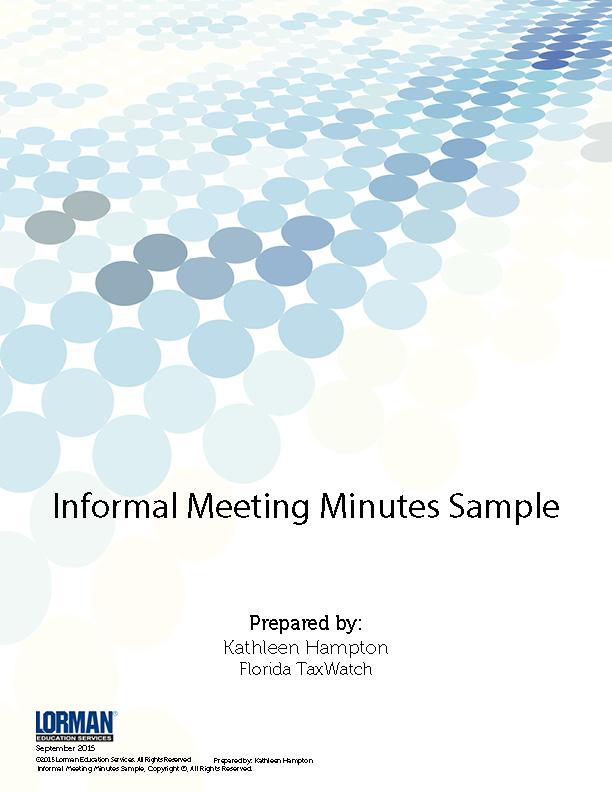 Informal Meeting Minutes Samples \u2014 White Paper Lorman Education