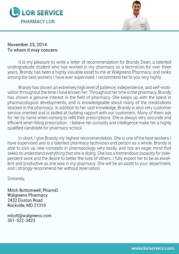 letter of recommendation sample medical