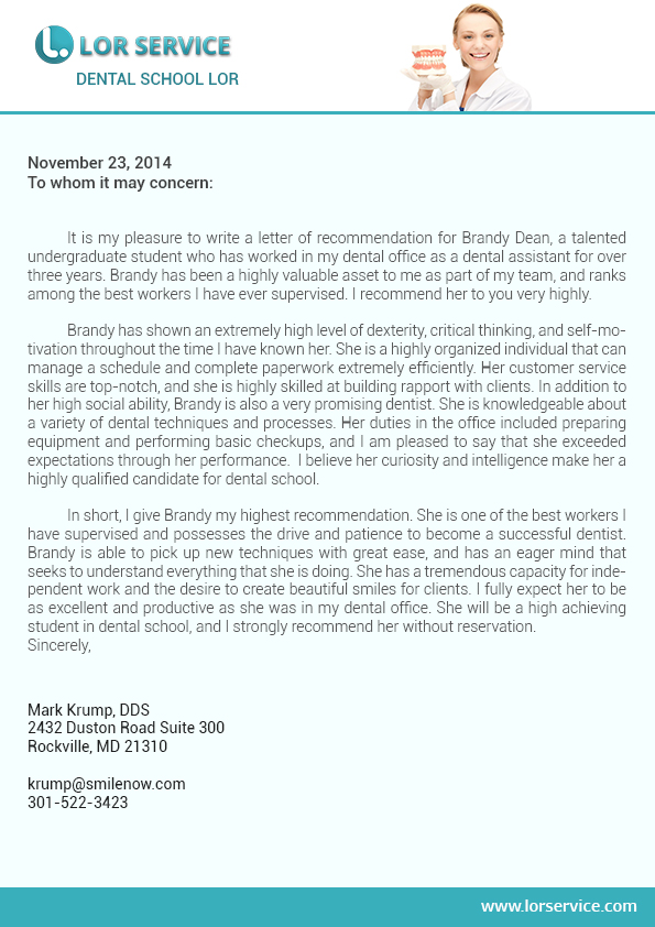 letter of recommendation for dental assistant