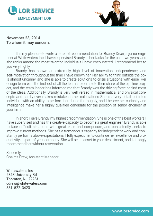 free example of a letter of recommendation