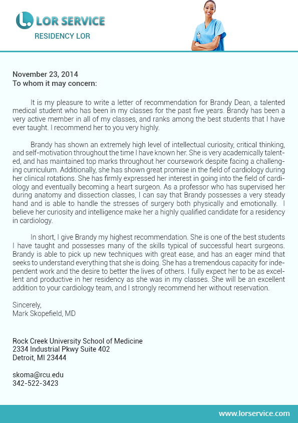 template for recommendation letter for scholarship