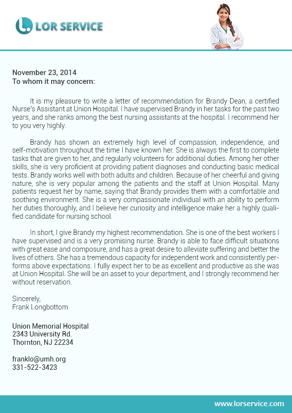 letter of recommendation for service
